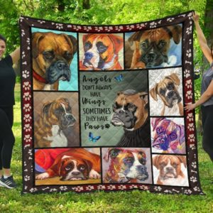 Boxer Dog Angles Don't Always Have Wings Sometimes They Have Paws Quilt Blanket Great Customized Blanket Gifts For Birthday Christmas Thanksgiving Anniversary