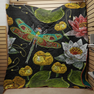 Lotus And Dragonfly Drawing Quilt Blanket Great Customized Blanket Gifts For Birthday Christmas Thanksgiving Anniversary
