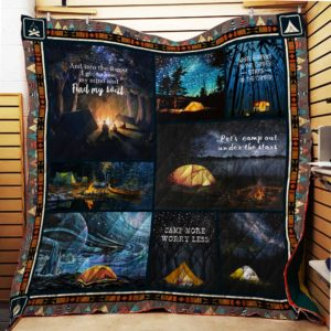 Camping Let's Camp Out Quilt Blanket Great Customized Blanket Gifts For Birthday Christmas Thanksgiving Anniversary