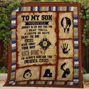 Personalized To My Son Wherever Your Journey Takes You From Mom Handprints And Dreamcatcher Compass Quilt Blanket Great Customized Blanket Gifts For Birthday Christmas Thanksgiving