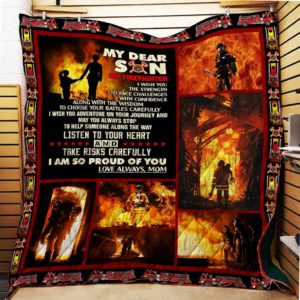 Personalized Firefighter Family To My Dear Son I Am So Proud Of You From Mom Quilt Blanket Great Customized Blanket Gifts For Birthday Christmas Thanksgiving