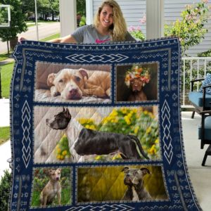 American Pit Bull Terrier Black White Dog Quilt Blanket Great Customized Blanket Gifts For Birthday Christmas Thanksgiving