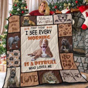 Pitbull Morning Pitbull's Pulse Talk To Pitbull Quilt Blanket Great Customized Blanket Gifts For Birthday Christmas Thanksgiving