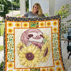 Sloth In Sunflowers Painting Quilt Blanket Great Customized Blanket Gifts For Birthday Christmas Thanksgiving Anniversary