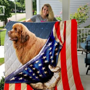 Newfoundland And Usa Flag Quilt Blanket Great Customized Blanket Gifts For Birthday Christmas Thanksgiving
