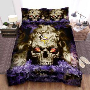 Minnesota Vikings Skull Bed Sheets Spread Duvet Cover Bedding Set Ver 1