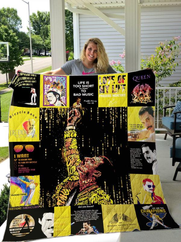 Freddie Mercury T Shirt Quilt Blanket Doveprints