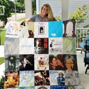 John Lennon style 3 Quilt Blanket